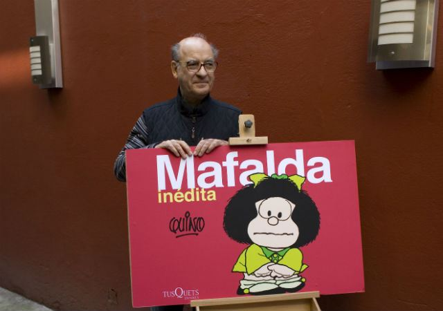 Argentine cartoonist Joaquin Salvador Lavado, better known as Quino, who created the famous comic strip Mafalda wins Prince of Asturias Award. (AP Photo/Dario Lopez-Mills)